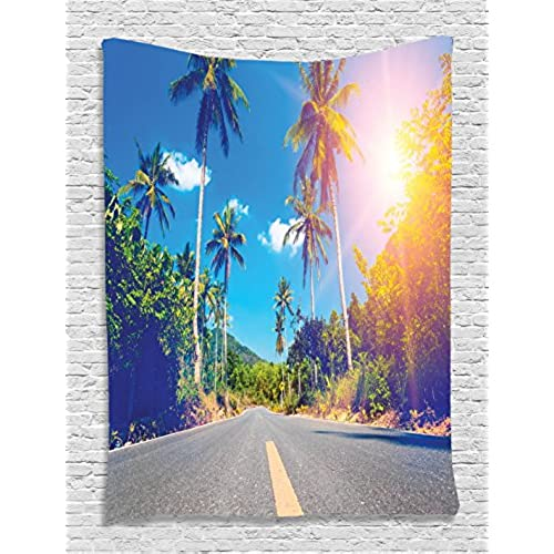 College dorm room wall decor amazon dorm room tapestry palm trees wall tapestry summer joy clouds nature tropical beach art sun wall hanging fabric room dividers college dorm accessories teraionfo