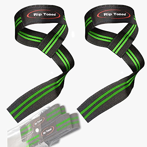 Rip Toned Lifting Wrist Straps by (Pair) - Bonus Ebook - Cotton Padded - For Weightlifting, Bodybuilding, Crossfit, Strength Training, Powerlifting, MMA (Black/Green)