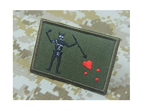 Navy SEAL Team 3 Blackbeard Pirate Flag Edward Teach Battlefield 4 Green (Canvas Fabric) Morale Patch Hook Backing (Flag Pirate Fabric)