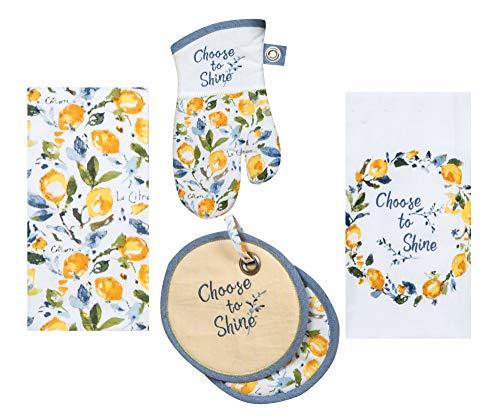 Kay Dee Designs Lemon Themed Kitchen Linen Set - 4 Piece Bundle Includes 1 Terry Towel, 1Tea Towel, 1 Oven Mitt, and 1 Potholder in Zest of Happy Design by Lisa Audit