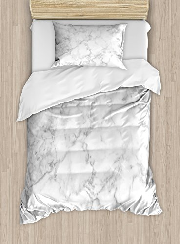 Ambesonne Marble Duvet Cover Set Twin Size, Nature Granite Pattern with Cloudy Spotted Trace Effects Marble Artistic Image, Decorative 2 Piece Bedding Set with 1 Pillow Sham, Light Grey Dust