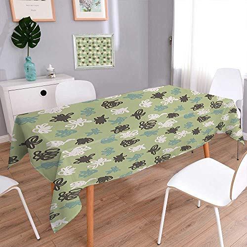 - Jiahonghome Cotton and Linen Green Backdrop with Sketchy Tangled Like Polka Dots Image Sage Green Olive Green Tablecloth for Dinner Parties, Summer & Outdoor Picnics