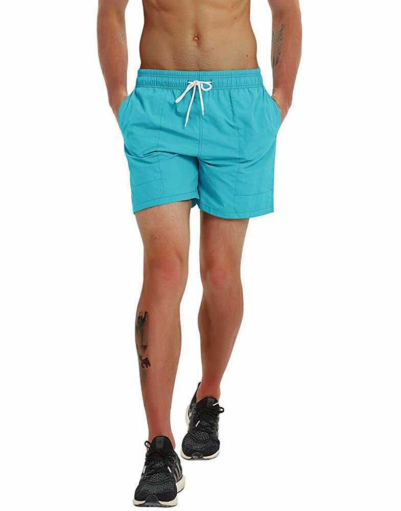 Gopune Fashion Short Mens Swim Trunks Boardshorts Quick Dry Beach Wear Shorts with Mesh Lining