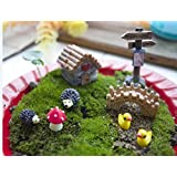 Ginsco 8pcs Miniature Fairy Garden Dollhouse Villa Style DIY kit Christmas Gifts