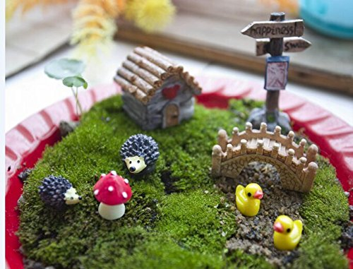 Ginsco 8pcs Miniature Fairy Garden Dollhouse Villa Style DIY Kit with Storage Box
