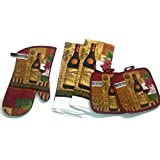 Wine Lovers Kitchen Linen Set (2030) (Includes: one oven mitt, two dish towels, and two pot holders)
