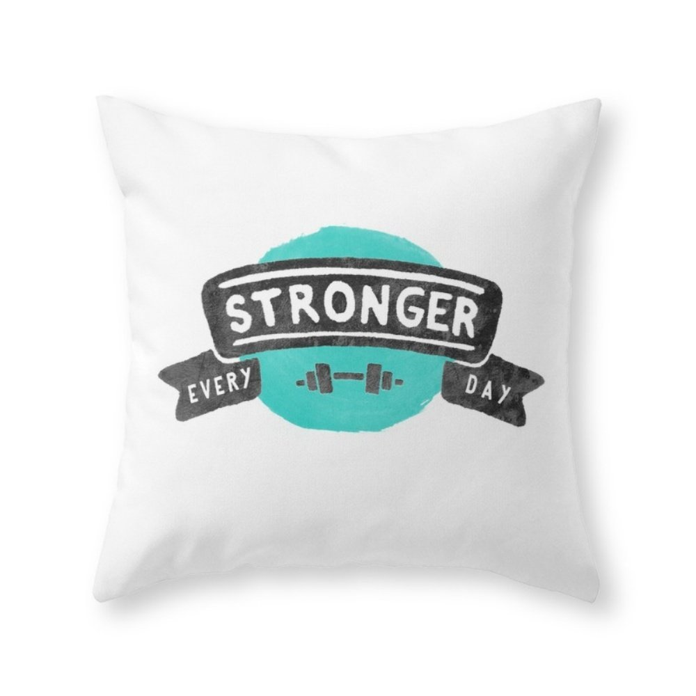 Society6 Stronger Every Day (dumbbell) Throw Pillow Indoor Cover (20'' x 20'') with pillow insert