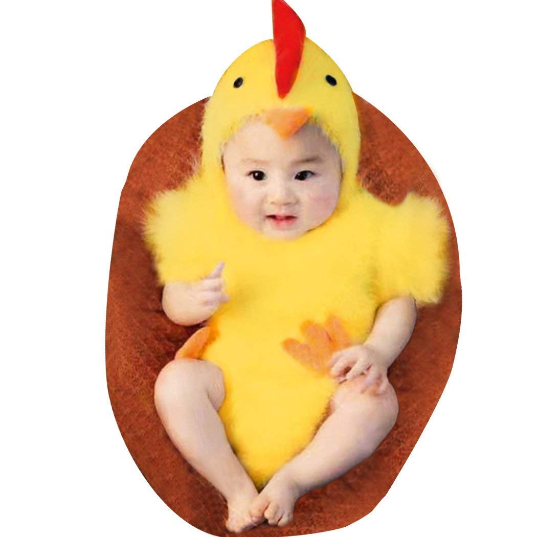 LERORO Unisex Newborn Baby Infant Costume Jumpsuit, Boys & Girls Cute Photography Chicken Costume Toddler Easter Cosplay Cloth Outfit (0-6 Months)