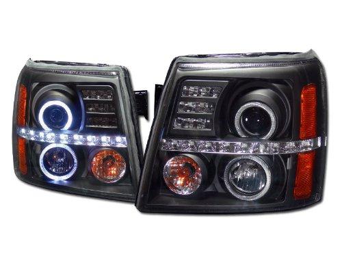 Brightt (I3-THJ-520) 02-06 Cadillac Escalade Halo Projector Headlights W/Led W/Amber (Black)