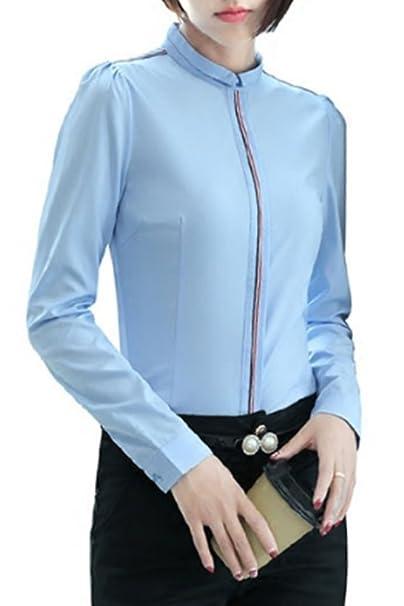 KINDOYO Mujer Elegante Camisa de Manga Larga Oficina de Algodón con Cuello Pico Blusa Slim Fit