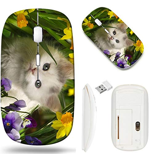 Wireless Mouse 2.4G White Base Travel Wireless Mice with USB Receiver, Noiseless and Silent Click with 1000 DPI for Notebook pc Laptop Computer MacBook Image of cat Animal Feline Fur Kitten Nature cu