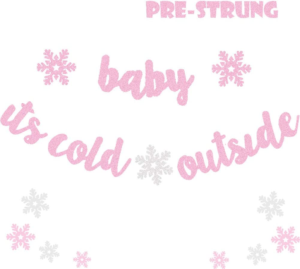 Glitter Pink Baby It's Cold Outside Banner Girl Winter Baby Shower Party Decor Winter Wonderland Christmas Little Snowflake Happy Holidays Party Supplies Decorations Photo Prop
