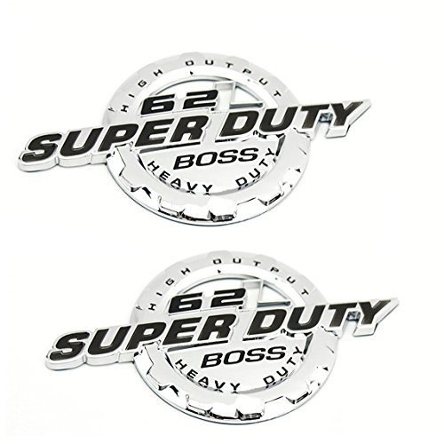 2pcs OEM Chrome 6.2L V8 Super Duty Boss Heavy Duty Side Fender Emblem Superduty Heavyduty Badge 3D Logo Replacement for F250 F350 Pickup