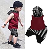 Hot Sale!2pcs Outfits Clothes Set,BeautyVan Fashion Cartoon Toddler Kids Baby Boy Hooded Vest Tops+Shorts Pants 2pcs Cute Outfits Clothes Set (3T, Red)