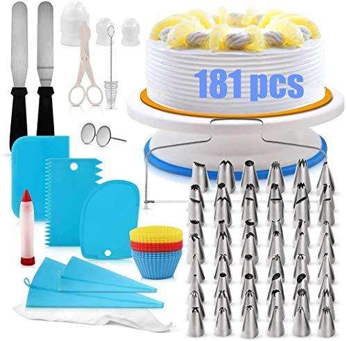 Bakaccessoires voor taarten, Taartdecoratievoorzieningen, Taartdecoratie-apparatuurset, DIY 181pcs Professionele Icing…