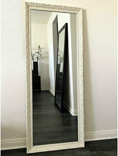West Frames Bella Ornate Embossed Antique White Wood Framed Leaner Mirror 24