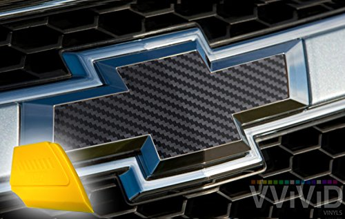 VViViD XPO Black Carbon Fiber Chevy Bowtie Logo Wrap Kit (6 rolls (11.8'' x 4'') + squeegee) by VViViD (Image #1)