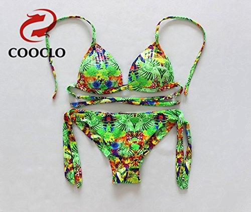YONGYI Europa y el elegante y triángulo de verano en la playa bikini dos piezas bikini moda triangular en sentido chip bañador split Green