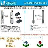 Ubiquiti BulletM2-HP 50+km PRE-CONF +Antenna 2.4GHz 6dBi Omnidirectional (2PACK)