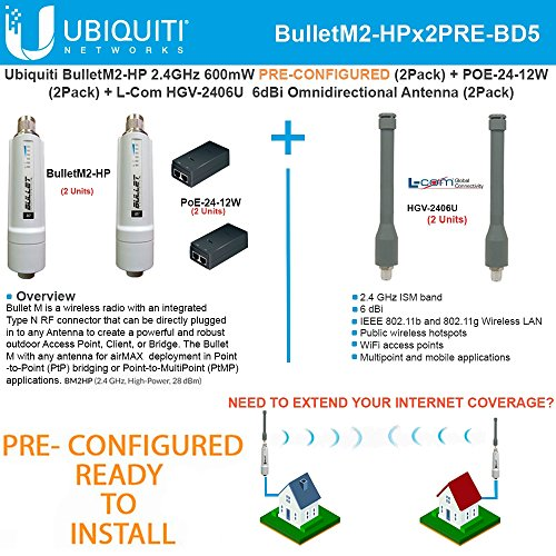 Ubiquiti BulletM2-HP 50+km PRE-CONF +Antenna 2.4GHz 6dBi Omnidirectional (2PACK) by Ubiquiti Networks