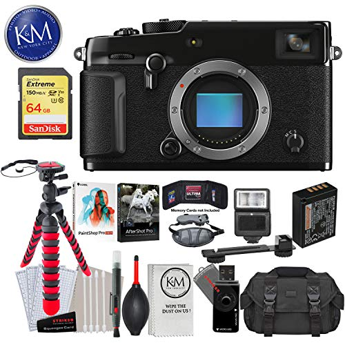 Fujifilm X-Pro3 Mirrorless Digital Camera (Body Only, Black) with 64GB Extreme SD Card, Corel After Shot Pro 3, Corel Paintshop Pro, DSLR Gadget Bag, Flexible Tripod, Hand Strap, Cleaning Kit