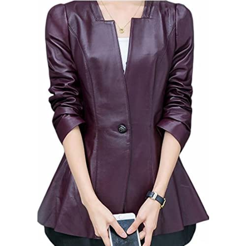 FLCH+YIGE Women's Casual Slim Fit PU Coat Flared One Button Faux Leather Blazer for sale