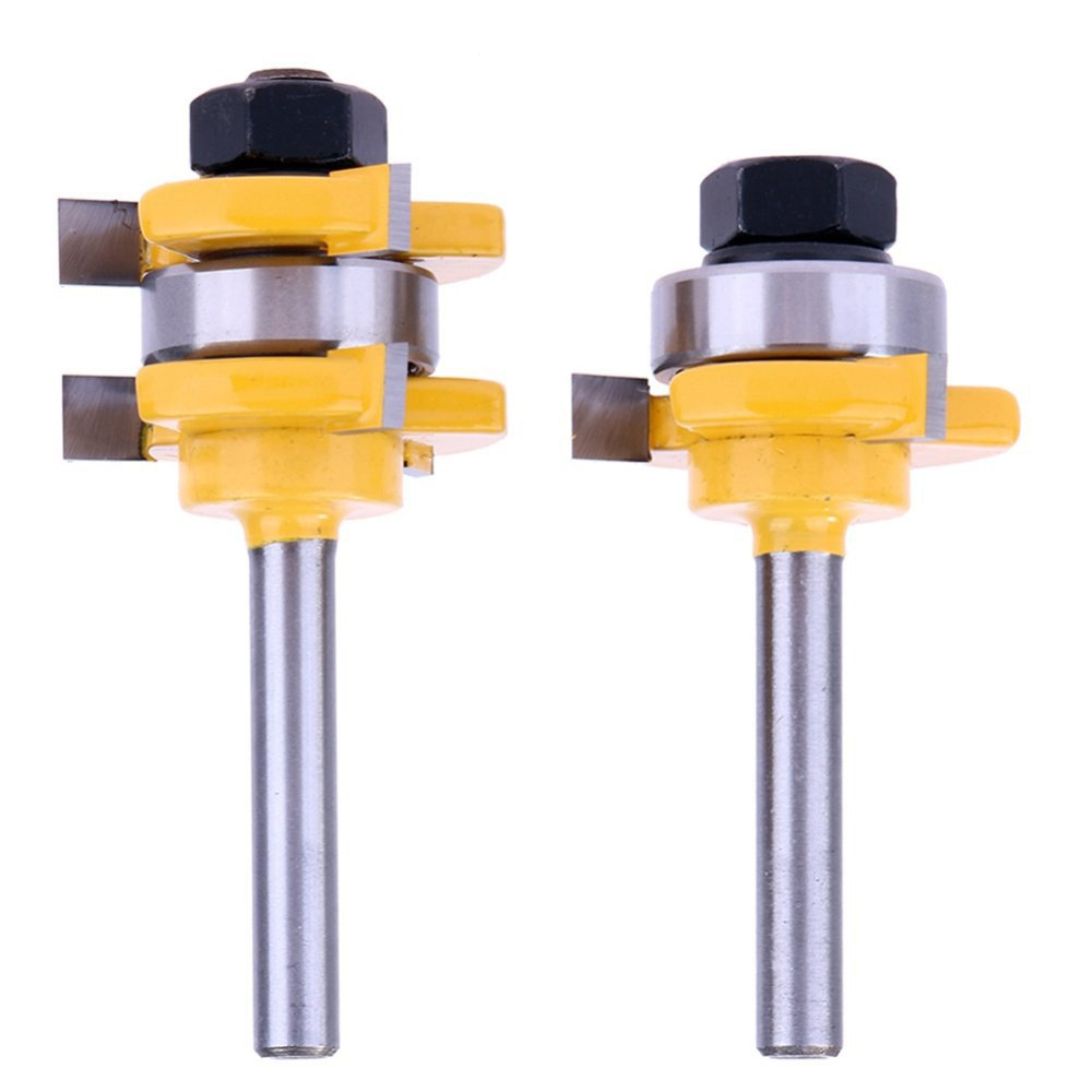 Yakamoz 1/4 Inch Shank Tongue and Groove Router Bit Set 3/4'' Stock 3 Teeth T Shape Wood Milling Cutter Woodworking Tool
