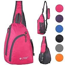 Sling Shoulder Backpack Travel Chest Bags Crossbody Hiking School Men Women Girl (Rose)