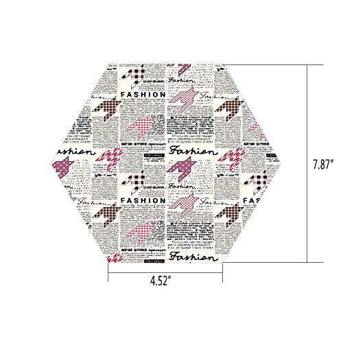 iPrint Hexagon Wall Sticker,Mural Decal,Fashion House Decor,Retro Style Newspaper with Colorful Ornamentals Modishness Illustration,White Pink,for Home Decor 4.52x7.87 10 ()