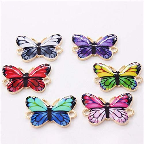 Animal Butterfly Necklace - Laliva 6pcs 2618mm Oil Drop Animal Butterfly Charms Bracelet Connector End Clasp for DIY Necklace Jewelry Making Accessories Z899 - (Color: Mixed)