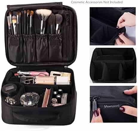ROWNYEON Makeup Bag Cosmetic Case Travel Organizer/Mini Makeup Train Case 9.8''