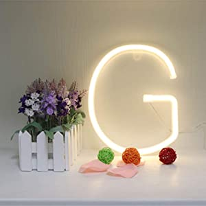 LED Neon Letter Lighting up Words Neon Alphabet Letter Sign Battery/USB Powered LED Marquee Word Neon Lamps Party Accessories Wall Hanging Decor for Birthday Wedding Party Bar Bedroom (G)