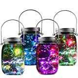 Solar Jar Light - Fairy Bottle Lights Solar Mason Jar Lid Glasses Lamp Lighting Perfect Gift For Children Holiday Party Wedding Christmas Yard Garden Tree Decorations Colorful Lighting 4 PACK