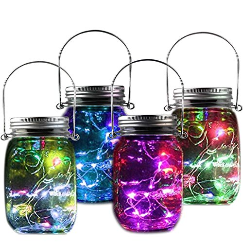 Solar Jar Light - Fairy Bottle Lights Solar Mason Jar Lid Glasses Lamp Lighting Perfect Gift For Children Holiday Party Wedding Christmas Yard Garden Tree Decorations Colorful Lighting 4 PACK by POPPAP