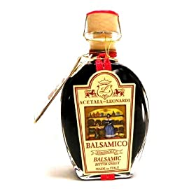 Balsamic Vinegar Leonardi 3 Year 1 1 - 8.45oz bottle of Acetaia Leonardi 3 year aged Balsamic Vinegar This Acetaia Leonardi balsamic vinegar is aromatic with hints of sweet wine, deep raisin and caramel flavors. Use in making salad dressings and marinades