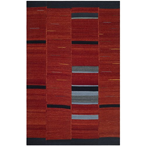 (Safavieh Kilim Collection KLM814A Hand Woven Red Premium Wool Area Rug (4' x 6'))