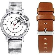 Men Creative Watches Hide Watch-Head Quartz Wristwatches Sports Cool Car Meter Dial Watch Set (Silver)