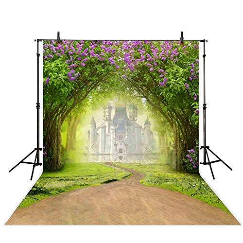 Allenjoy 5x7ft Spring Photography Backdrop Easter Woodland Big Tree Castle Meadow Grass White Flower Fairy Tale Photo Studio Booth Background ()