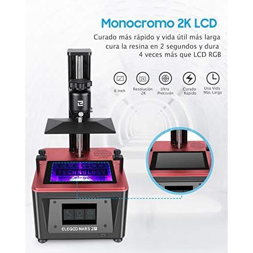 ELEGOO Mars 2 Pro Impresora 3D Mono MSLA Impresora 3D de Resina LCD de Fotopolimerización UV con LCD Monocromático 2K de…