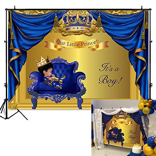 Mehofoto Royal Baby Shower Backdrop Little Prince Baby Boy Photography Background 7x5ft Vinyl Blue Gold Curtain Baby Shower Party Banner Decoration ()