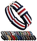 BARTON Watch Bands - Choice of Color, Length & Width (18mm, 20mm, 22mm or 24mm) - Navy/Crimson/Ivory 24mm - 'Long' Version