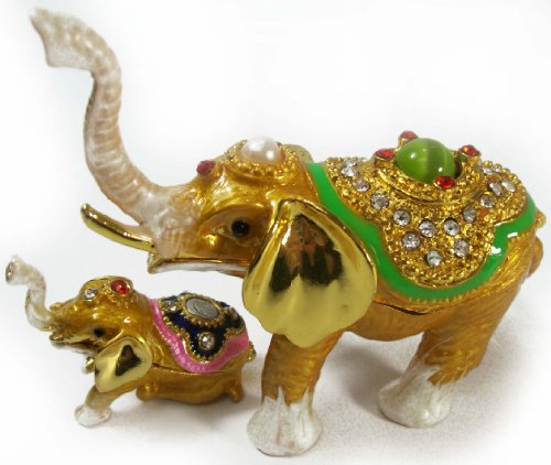 - Mother & Baby Elephant (Set of 2) Bejeweled Collectible Trinket Jewelry Box