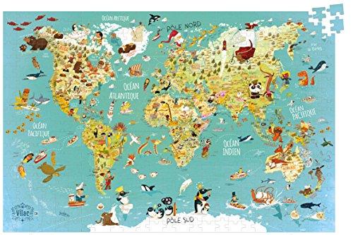 Vilac 92 x 62cm World Map Cardboard Puzzle (500 Piece)