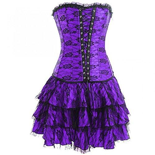骨折圧縮欲求不満Purple Satin Gothic Burlesque Moulin Rouge Waist Cincher Overbust Corset Dress