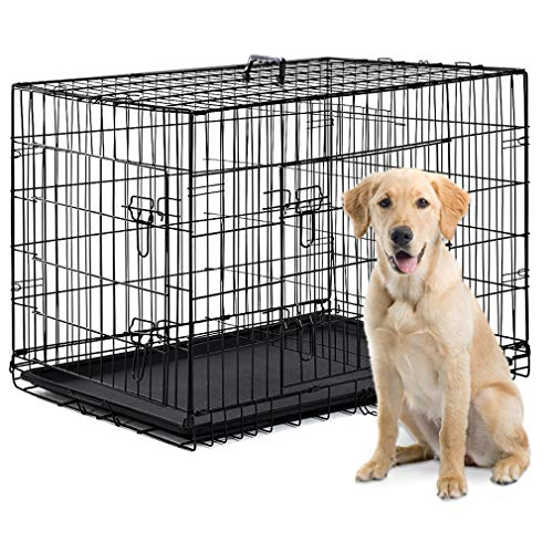 - BestPet Dog Crate Double Door Folding Metal Dog Cage Plastic Tray Pet Crate Pet Cage W/Divider,24