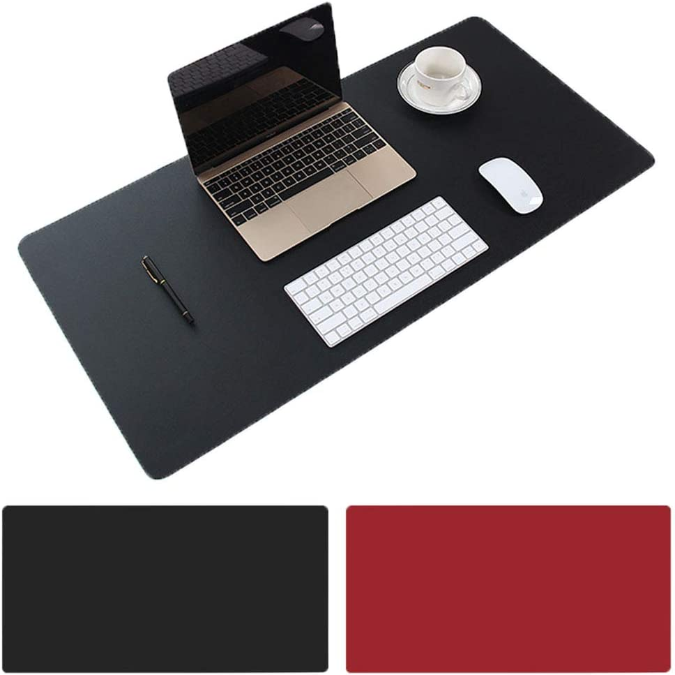"Aisakoc Large Desk Pad, 35.4"" x 15.75"" Non-Slip PU Leather Desk Mouse Pad Waterproof Desk Pad Protector, Dual-Side Use Desk Writing Mat for Office Home (Black&Red)"
