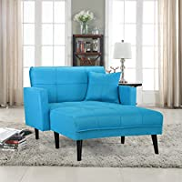 Divano Roma Furniture Modern Linen Fabric Recliner Futon Chaise Lounge - Futon Sleeper Single Seater (Sky Blue)