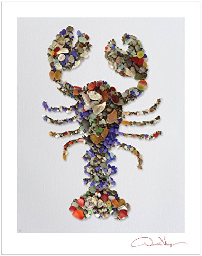 Lobstah. Sea Glass Lobster Poster Print. 11x14 Great Fathers Day Gift. Best Quality Home Decor. Unique Birthday, Christmas, Mother's Day & Valentines Day Gifts for Men, Women & Kids.