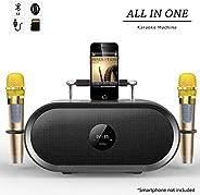 RHM Karaoke Machine for Kids&Adult,2 Wireless Microphones,Rechargeable Battery Speaker,Portable PA Speaker