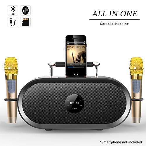 RHM Karaoke Machine for Kids&Adult,2 Wireless Microphones,Rechargeable Battery Speaker,Portable PA Speaker System with Bluetooth/AUX/USB/SD for Home,Party,Wedding,Picnic Outdoors&Indoors Activities ()